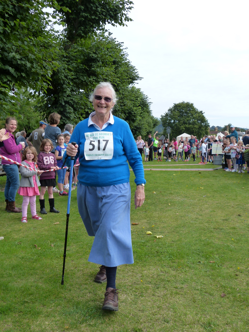 Lesley Crowther finishes the Fun Run