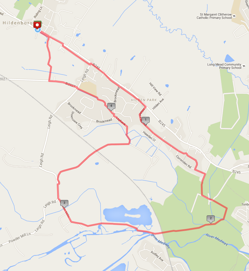 Hildenborough stage - 5 mile circuit     (click map for expanded view)