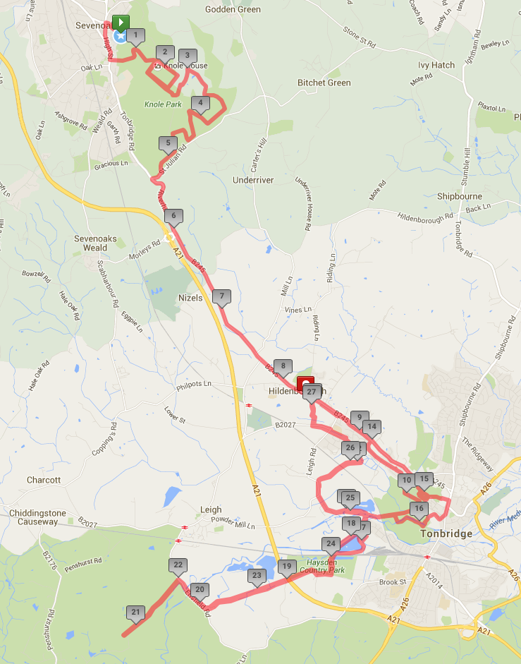 401 Virtual Challenge Sevenoaks - Entire marathon route  (click map for expanded view)