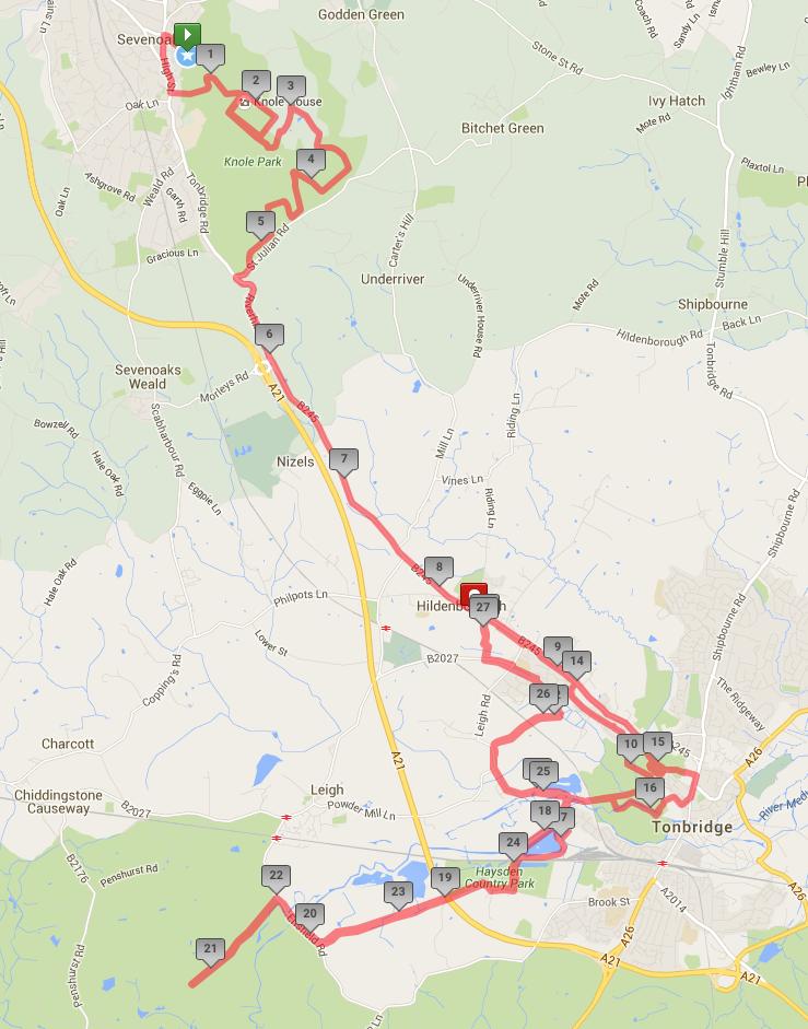 401 Challenge Sevenoaks - Entire marathon route  (click map for expanded view)