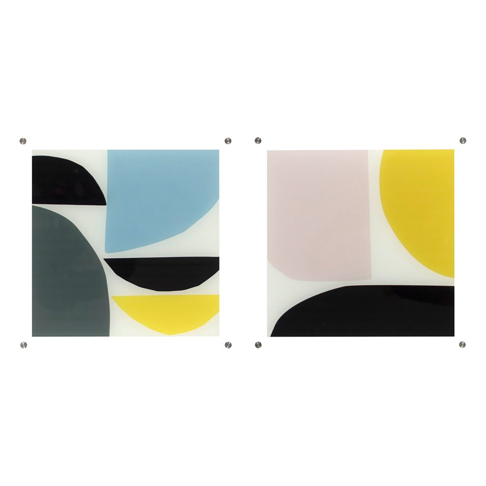 """Set of two 14""""x14"""" Abstract Shaped Acrylic Shadowbox Decorative Wall Art by Project 62"""