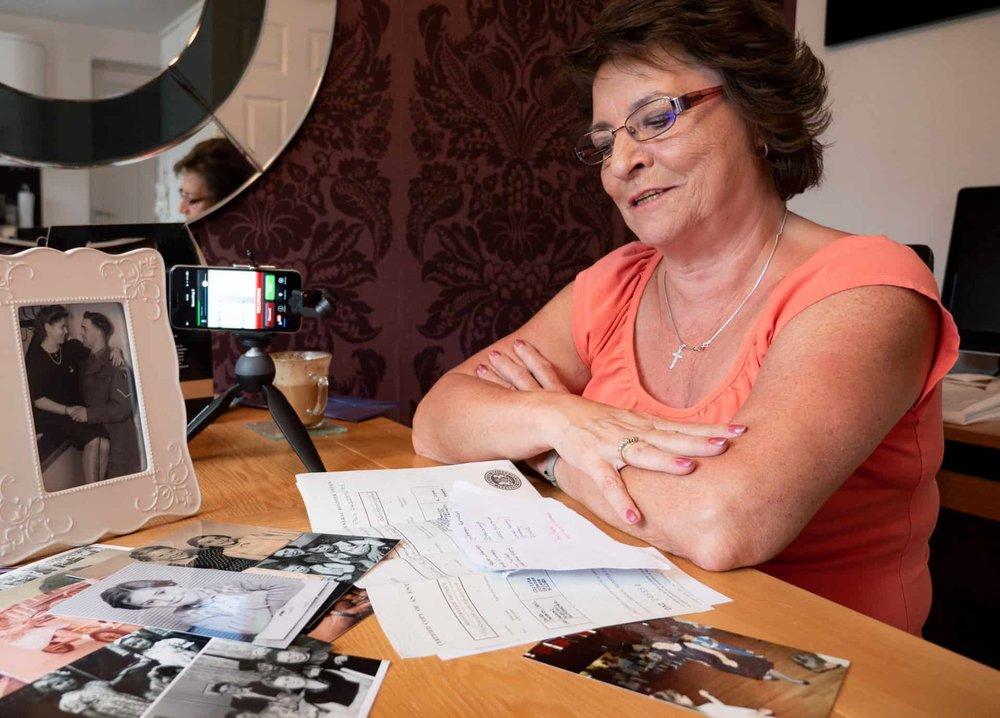 Jackie Garbett recording her story in her house in Rowley Regis in June 2018