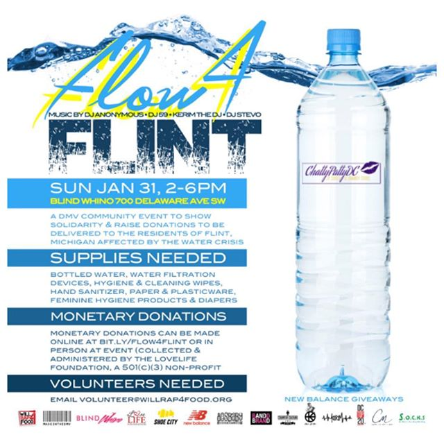 #FLOW4FLINT JAN 30-31 join @willrap4foodinc @madeinthedmv @blindwhino and our host of community partners to collect supplies & donations for the residents of #Flint affected by the ongoing water crisis. Drop off times, locations, and items needed listed on flyers.  Monetary donations can be made online at bitly.com/flow4flint (collected & administered by @lovelifedmv, a 501(c)(3) non-profit)  Live music & @newbalance giveaways to biggest donations!  SPREAD THE WORD #RP