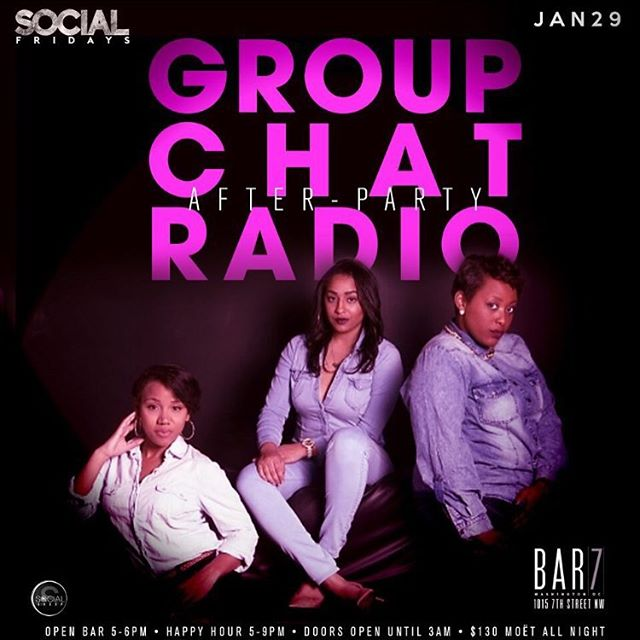 After the show it's the after party! Meet us at Bar 7 tomorrow night after the show!!! Come help us celebrate our official launch. @groupchatradio @arilawan_ @iam.aja powered by #BeSocial #SocialFridays @kawasakyi @thesocialgroup_