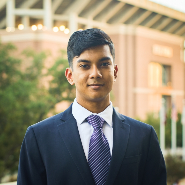 """Faiaz Ahbab '20    Hometown: Allen, TX   Major: Marketing   Involvement:  Zipcar Brand Ambassador Good Bull Parking Valet  Pi Sigma Epsilon Member   Favorite Quote: """"I was born with glass bones and paper skin. Every morning, I break my legs, and every afternoon, I break my arms. At night, I lay awake in agony until my heart attacks put me to sleep."""""""