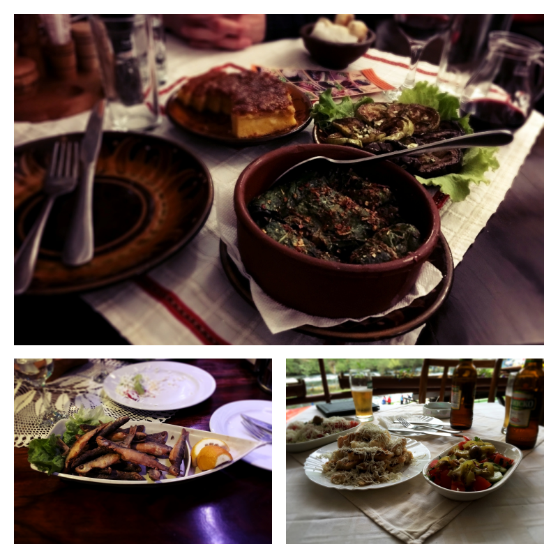 """Half-way through a traditional dinner, """"Small Fishes"""" straight from Lake Ohrid and Shopska salata"""