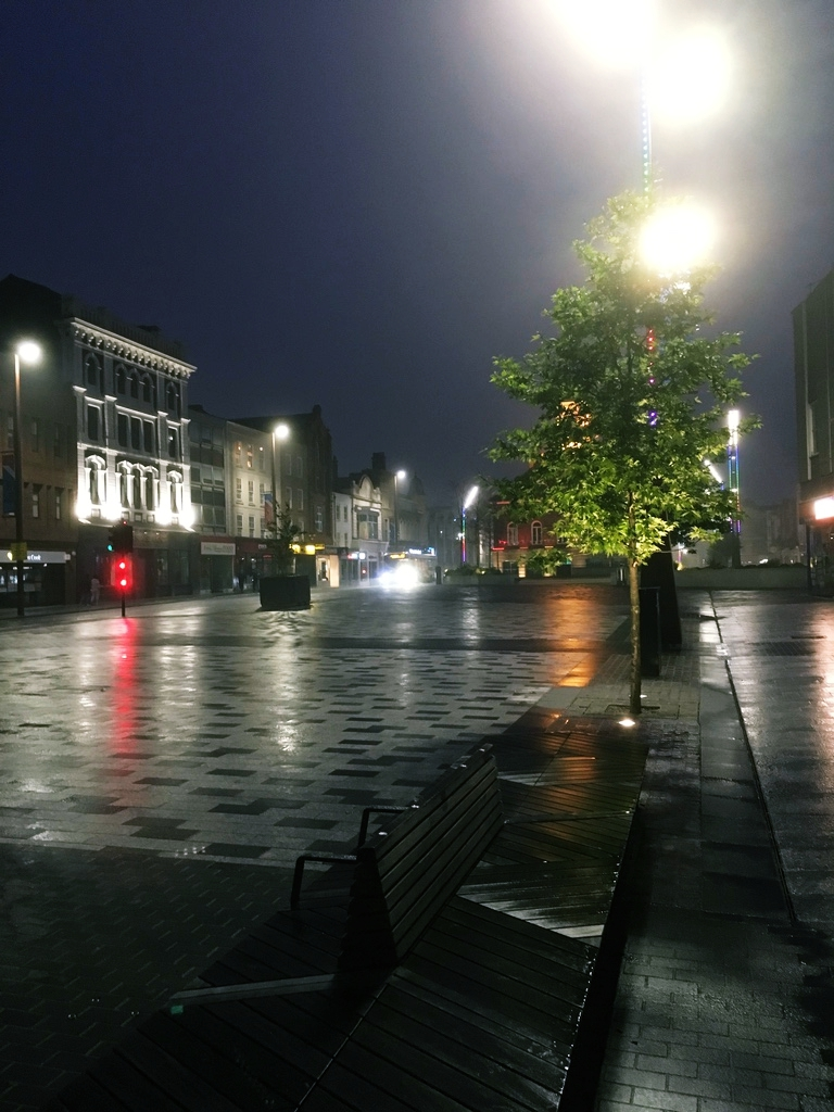 Nothing like a brisk walk in Stockton's empty wet streets after midnight