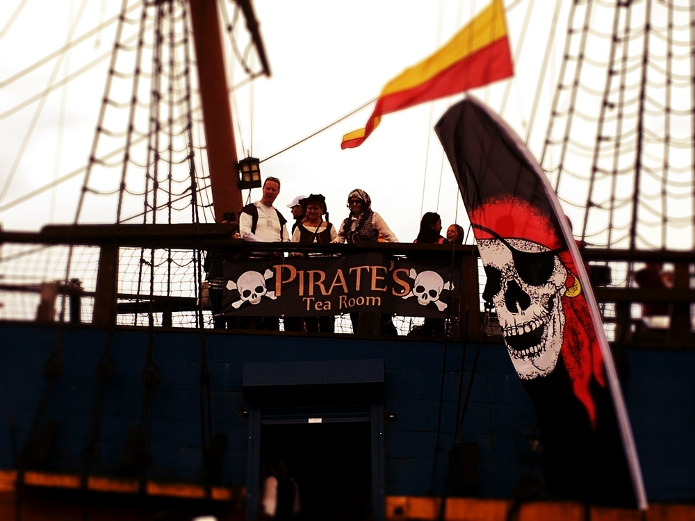 'Arrgh, fancy a cup o' tea matey?' the pirates shouted.