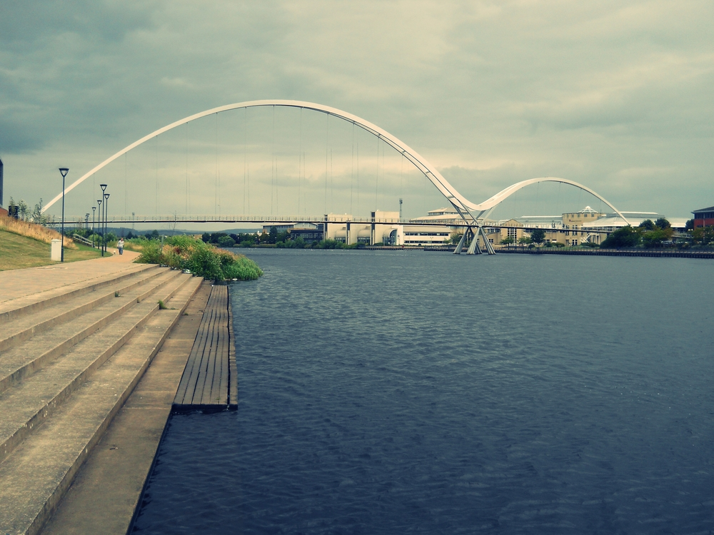 The Infinity Bridge, constructed in 2009, in Stockton-on-Tees