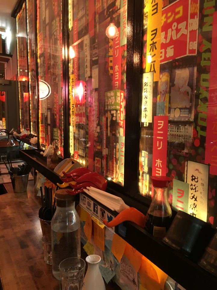 Expect standard noodles and sushi. What sets this small restaurant apart is its character and atmosphere.