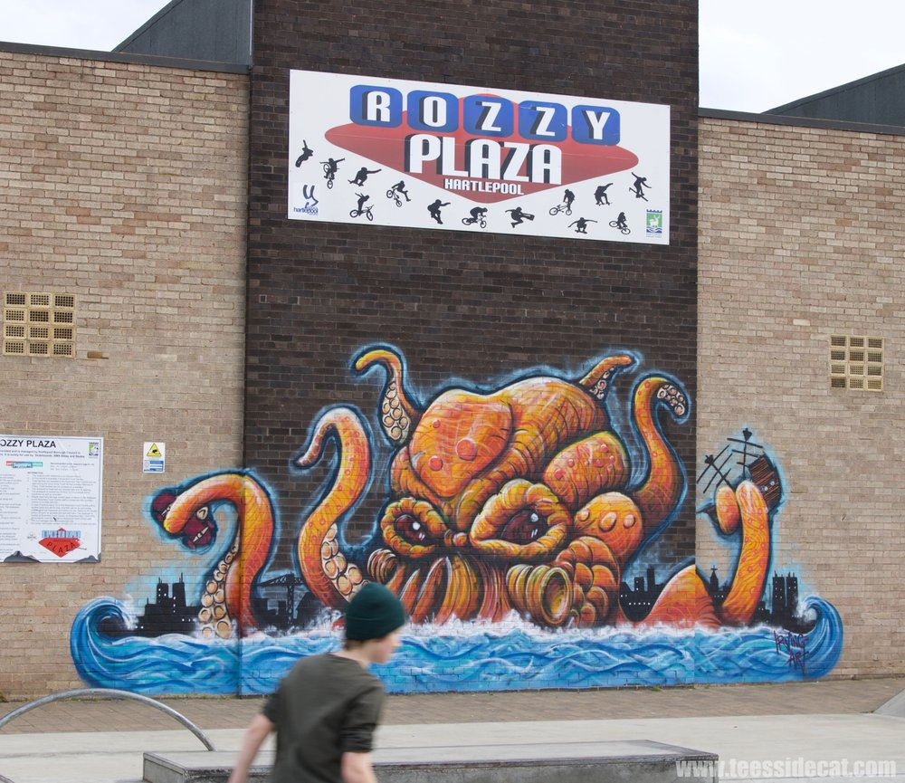 The impressive octopus mural created by Teesside artist Stephen Irving. It overlooks Rozzy Park Skatepark (at the Rossmere Youth Centre), a popular gathering point for skaters in the area.