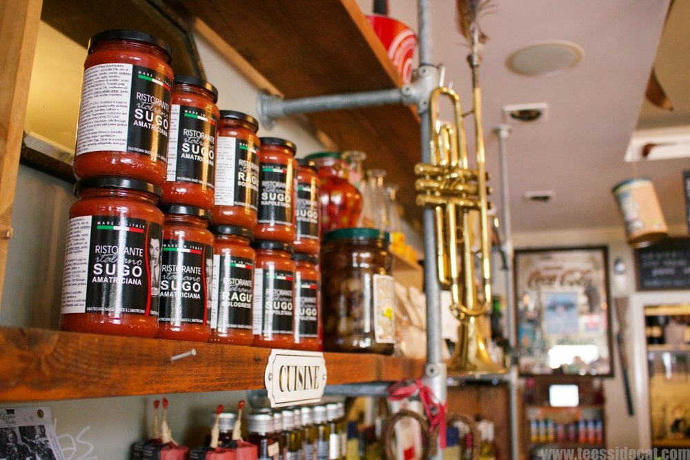 The deli offers a wide variety of Italian food and drink products