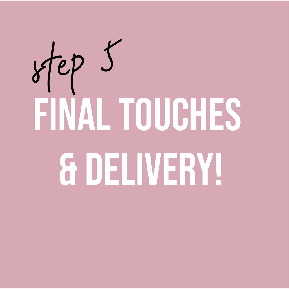 - Payment in full is needed at this time. I offer in-person delivery to your home (free for local clients). Items can always be shipped, as well!