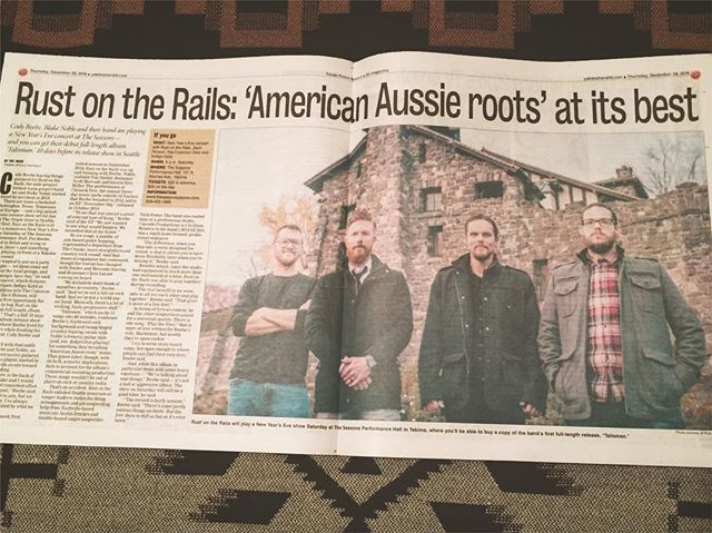 Great writeup in OnMagazine today about the new record and our NYE party. Tickets are moving super fast, so if you don't have plans, we'd love to ring in the new year with you!  @yakimaherald #onmagazine #yakimavalley #rustontherails #rotr #americanaussieroots #iheartyakima #nyeparty #yakimaherald