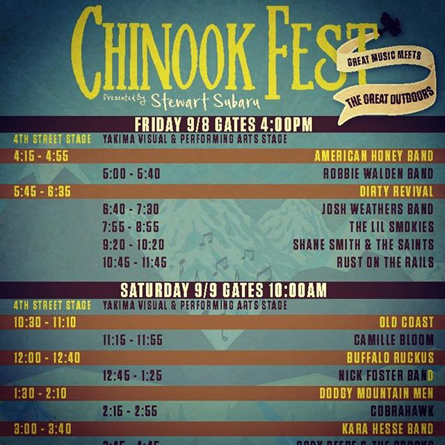 Thank goodness @chinookfest is finally here! We hope you are coming today, because this line up is ridiculous, but pace yourselves because we don't go on until 10:45pm. There are six absolutely incredible bands before that, and we will be there partying with you! You don't want to miss this. See you in paradise! ❤️ROTR #rustontherails #chinookfest #americanaussieroots