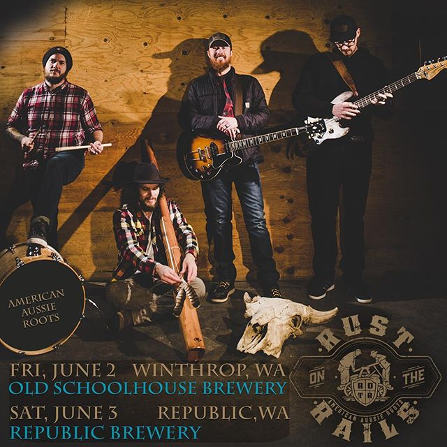 We can't wait to finally return to Winthrop and Republic this weekend! Friday at @oldschoolhousebrewery and Saturday at #republicbrewingcompany #rustontherails #codybeebe #blakenoble #didgeridoo #americanaussieroots