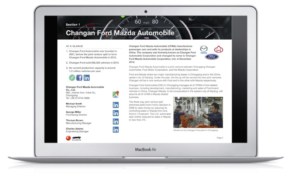 The China AutoBook includes company profiles of OEM car makers, Multinationals and Chinese automotive parts suppliers as well as organizations, media and exhibitions.