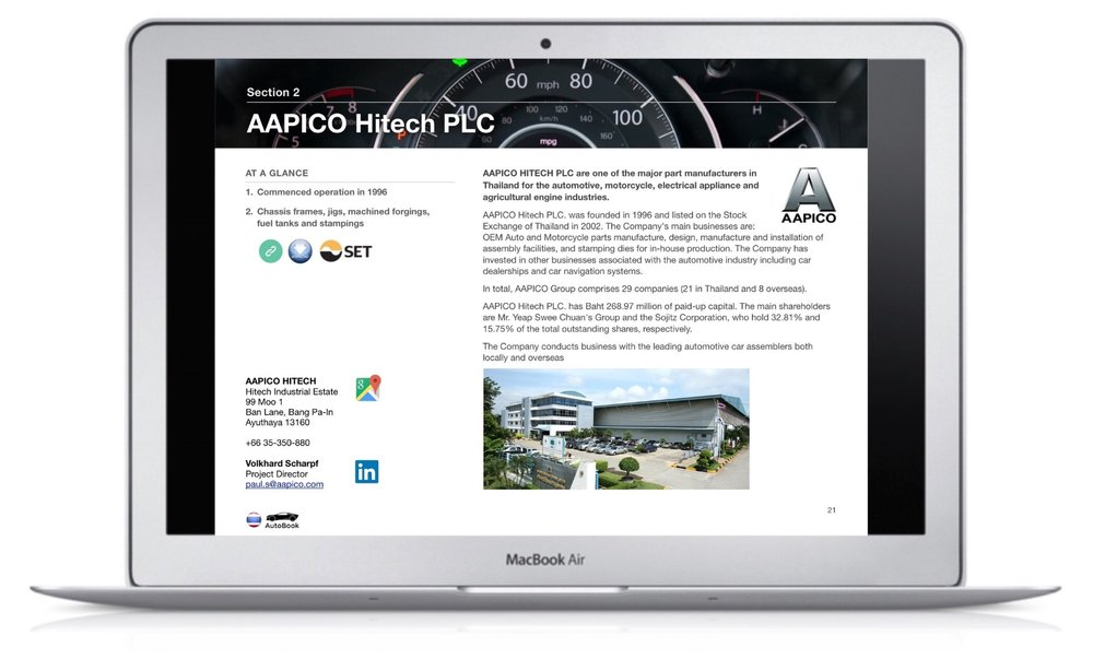The Thailand AutoBook includes company profiles of OEM car makers, Multinationals and Thai automotive parts suppliers as well as organizations, media and exhibitions.