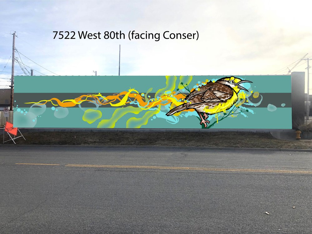 "The mural at the corner of 80th and Conser is designed by Donald ""Scribe"" Ross and depicts a Meadowlark, the state bird of Kansas."
