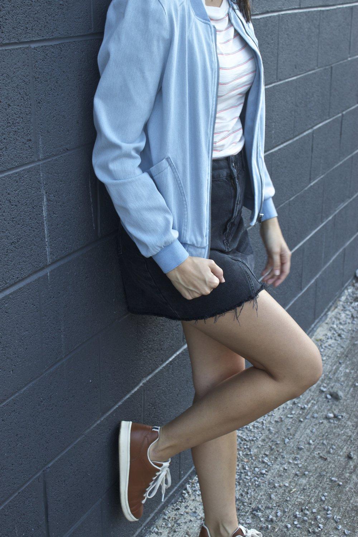 Bomber   Skirt   Tee   Shoes