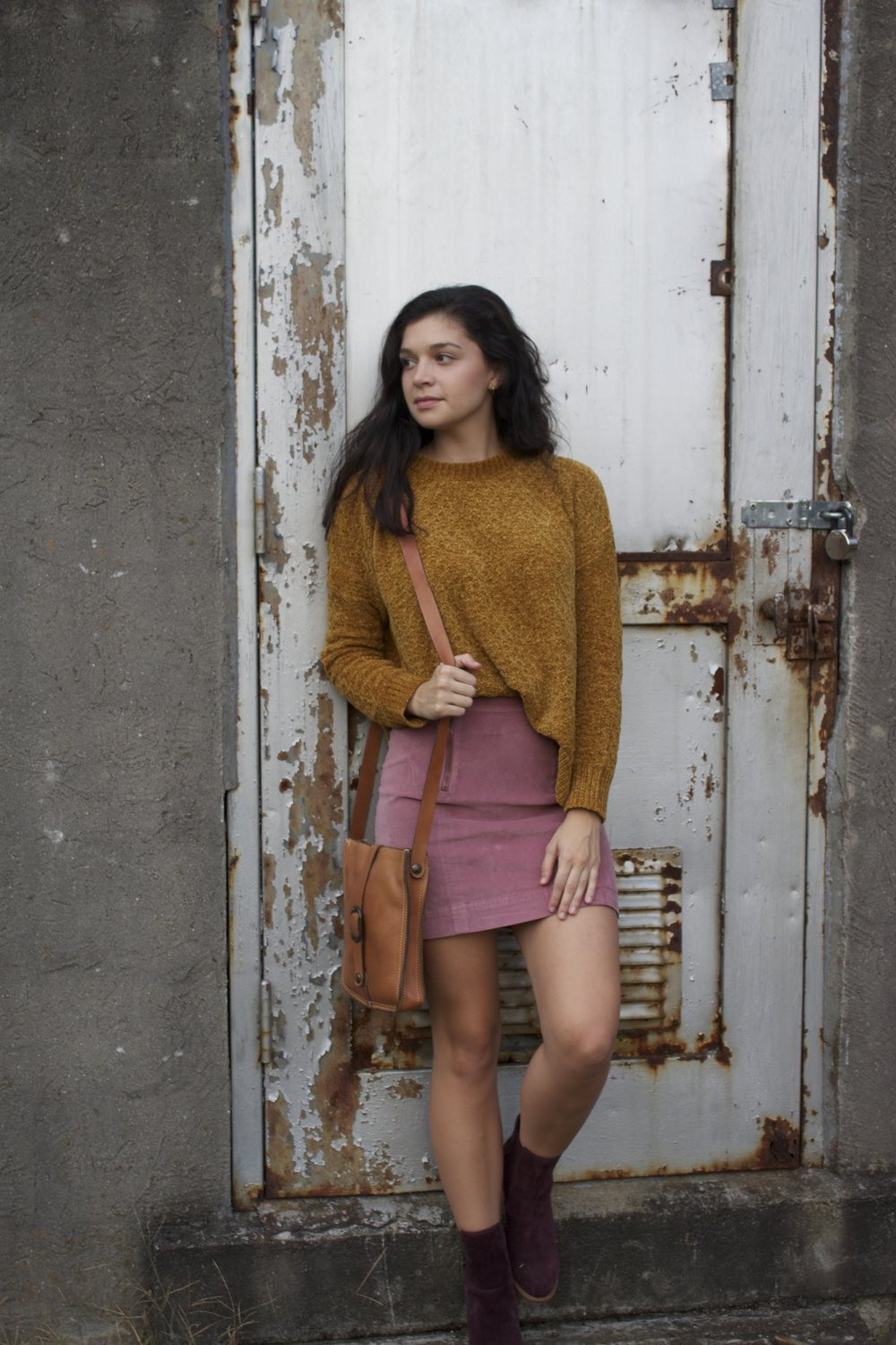 Sweater     Skirt     Booties     Purse