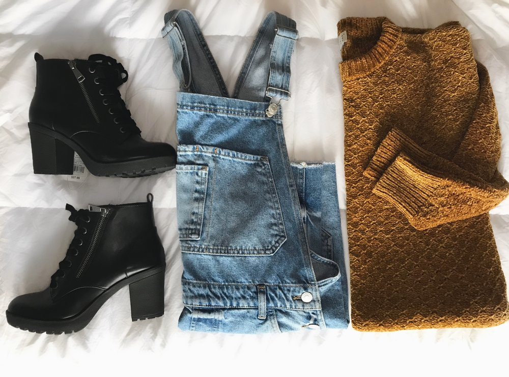 Overalls  (similar)   Boots    Sweater