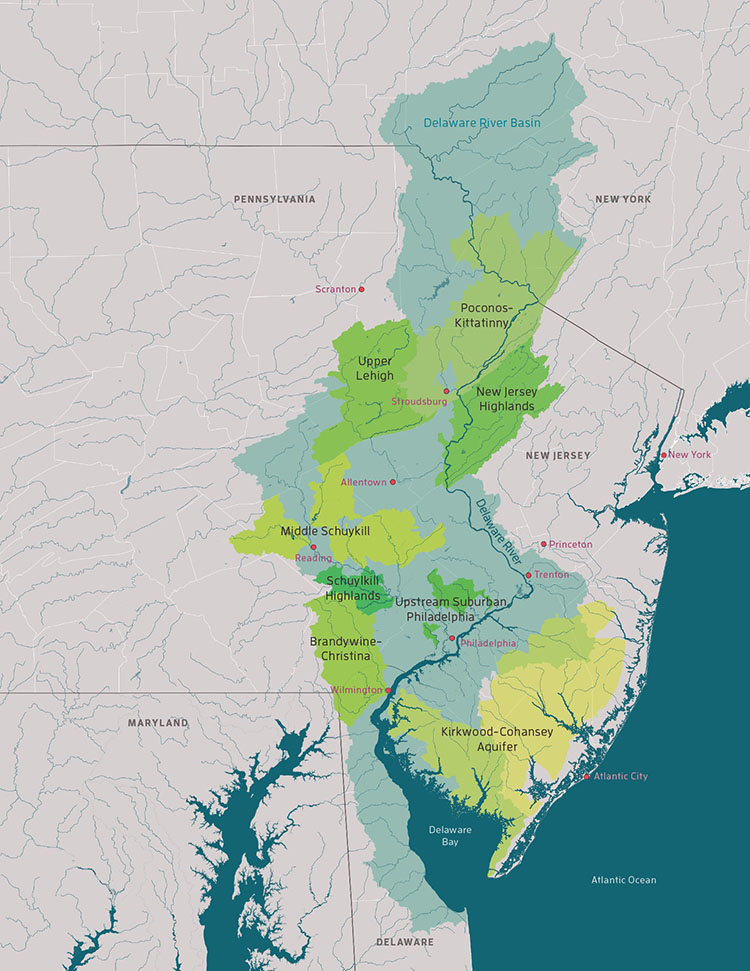 "The Delaware River Watershed Initiative targets eight sub-watershed ""clusters"" in the Delaware River basin that constitute approximately 25 percent of the watershed across four states."