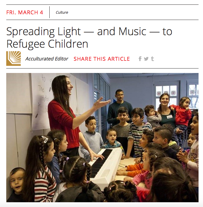 "Acculturated: ""Spreading Light - and Music - to Refugee Children"" - March 4th, 2016"