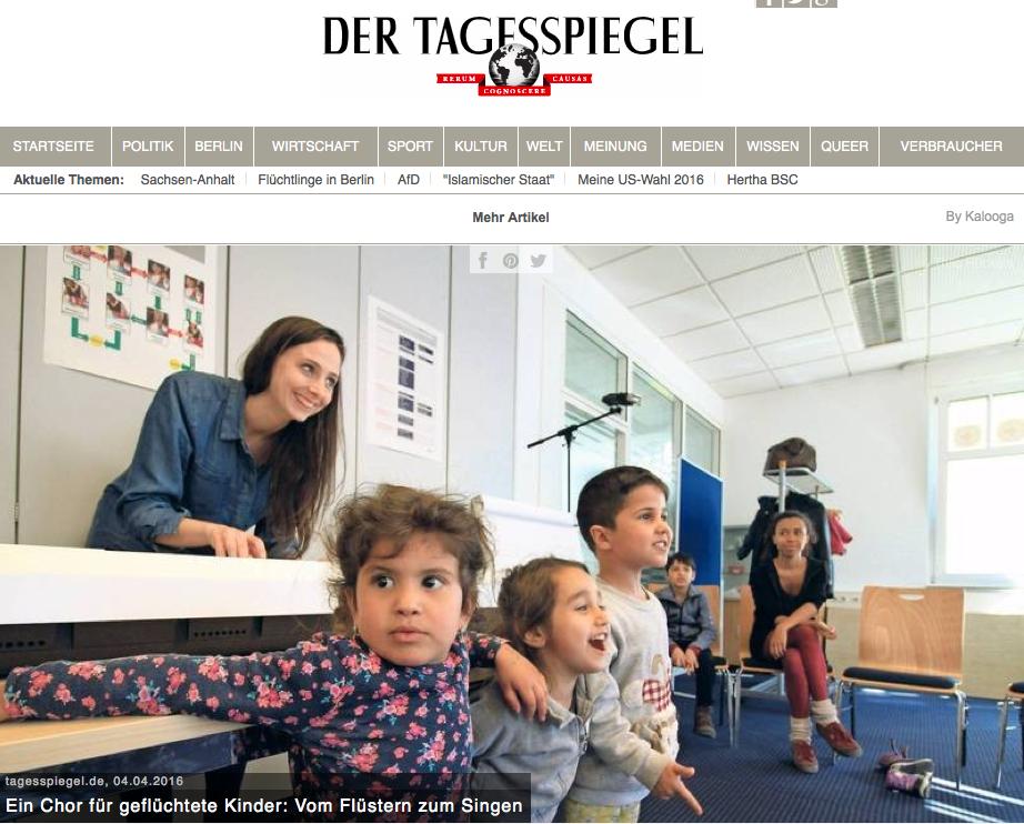 """Der Tagesspiegel: """"Vom Flüstern zum Singen"""" - April 5th, 2016"""