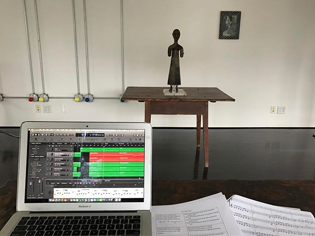 "Putting the finishing touches on a choral arrangement of ""V'la L'Bon Vent,"" a french folk song that @bloom.bloomy taught our class in Berlin. Her mom sung it to her as a child. Tomorrow, we are recording a new arrangement of the song for the soundtrack of Brune's film. Big thanks to Donju Min, Christopher Ramirez, Jon Perkins, Marisa Tamar Onanian, and Emily Suzuki"
