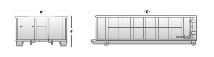 10 cubic yard container (approximate dimensions)