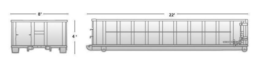 20 cubic yard container (approximate dimensions)