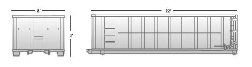 30 cubic yard container (approximate dimensions)