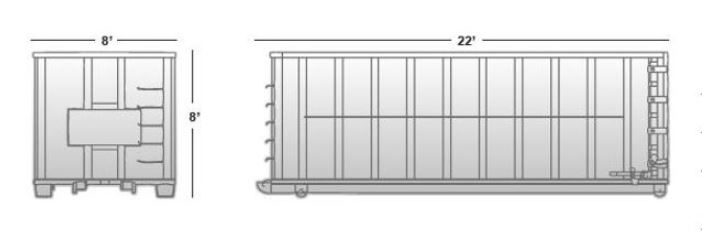 40 cubic yard container (approximate dimensions)