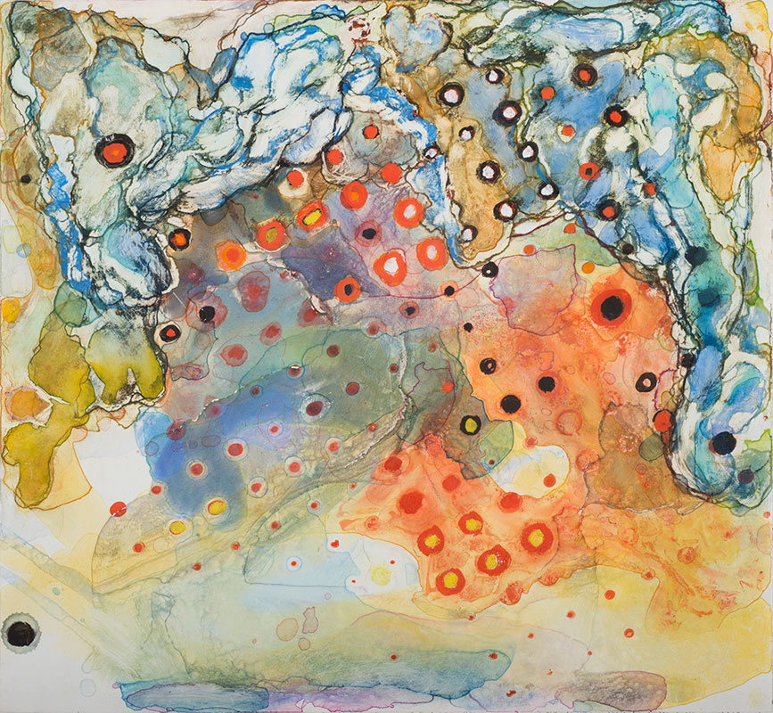 "Untitled 6, casein and watercolor on paper, 12"" x 13"", 2012"