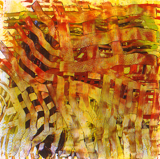 "Intrecciato II, mixed media on paper, 16"" x 16"", 2003"