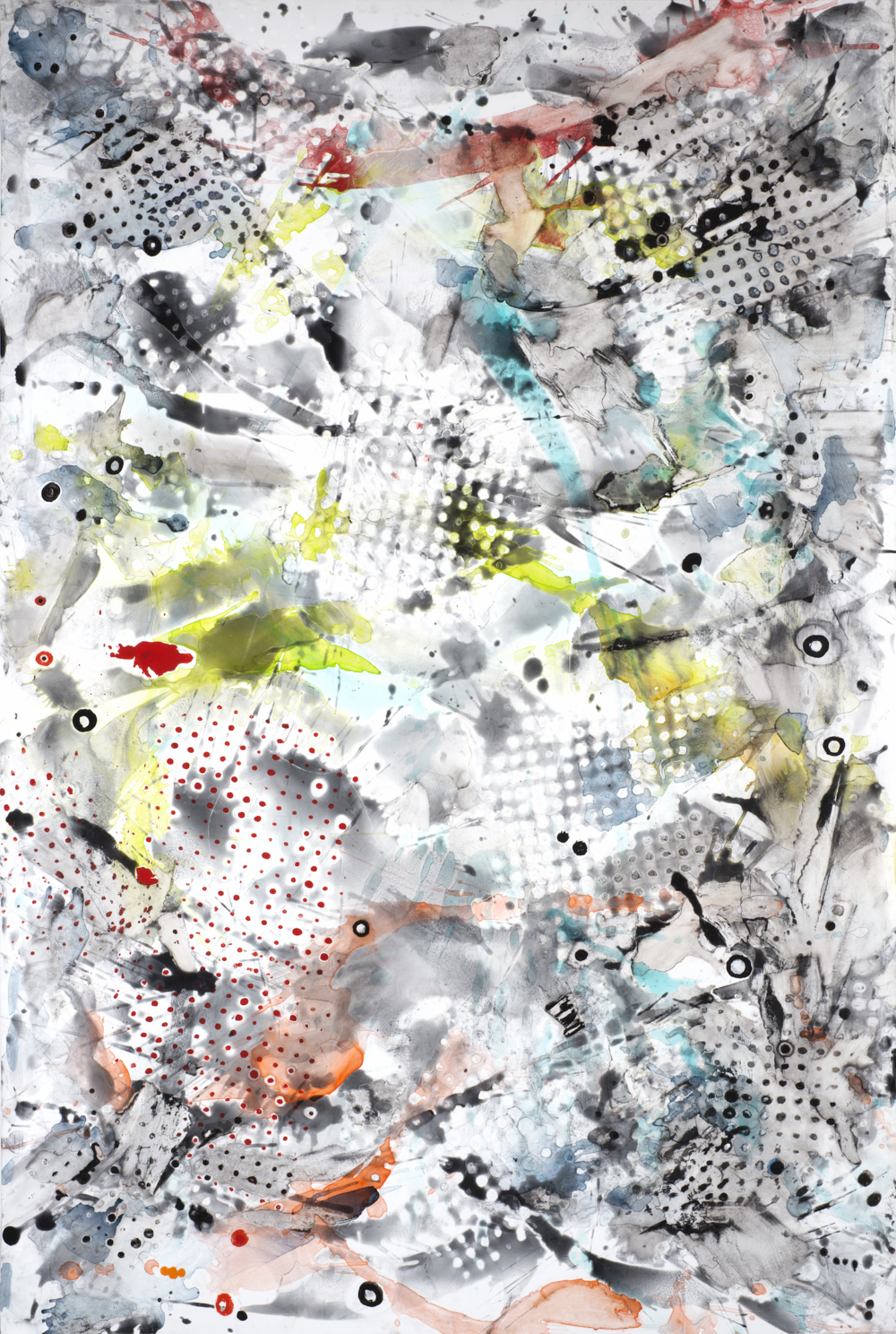 "Play and Possibility, casein and watercolor on paper, 60"" x 40"", 2014"