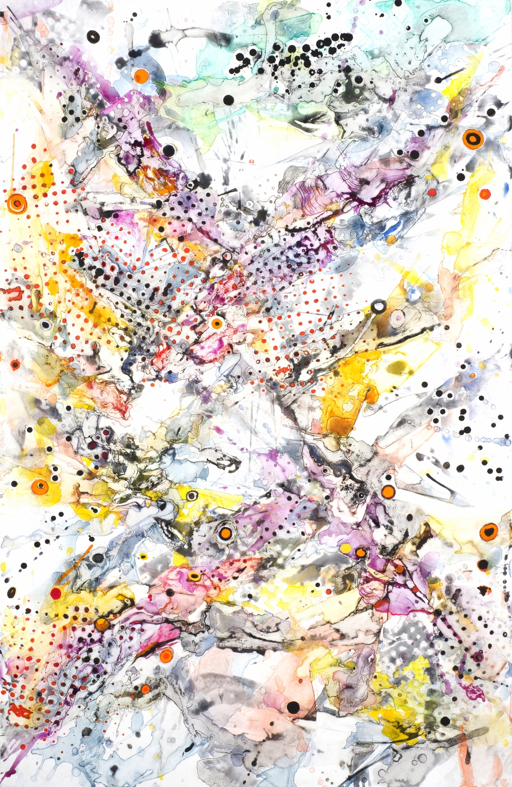 "To the Four Corners, casein and watercolor on paper, 60"" x 38 1/2"", 2013"