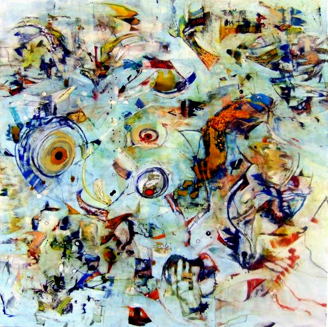 "Umalali, shellac ink and oil on wood panel, 40"" x40"", 2008"