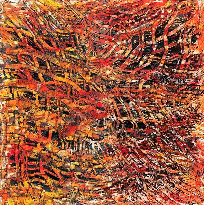 "Woven + Woven, mixed media on paper, 26"" x 26"" 2002"