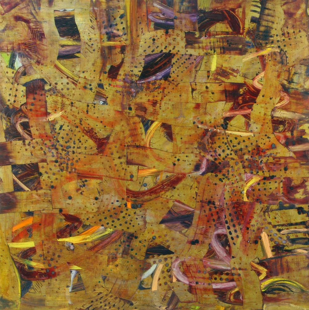 "Pivot, mixed media on wood panel, 40"" x 40"", 2006"