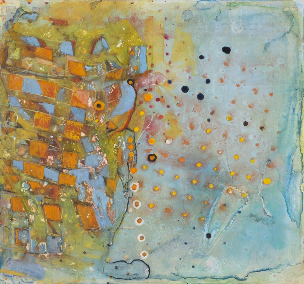 """Thinking of PG, mixed media, 12 1/4"""" x 13"""", 2015"""