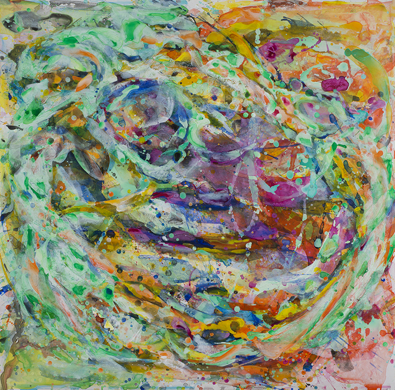 "The Circle is Not Round #2, 40 x 40"", acrylic on terra skin paper, 2016"