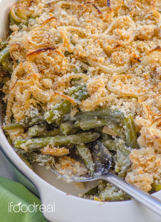Clean Green Bean Casserole  (V)
