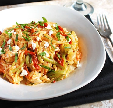 Zuchinni Noodles With Red Pepper Sauce