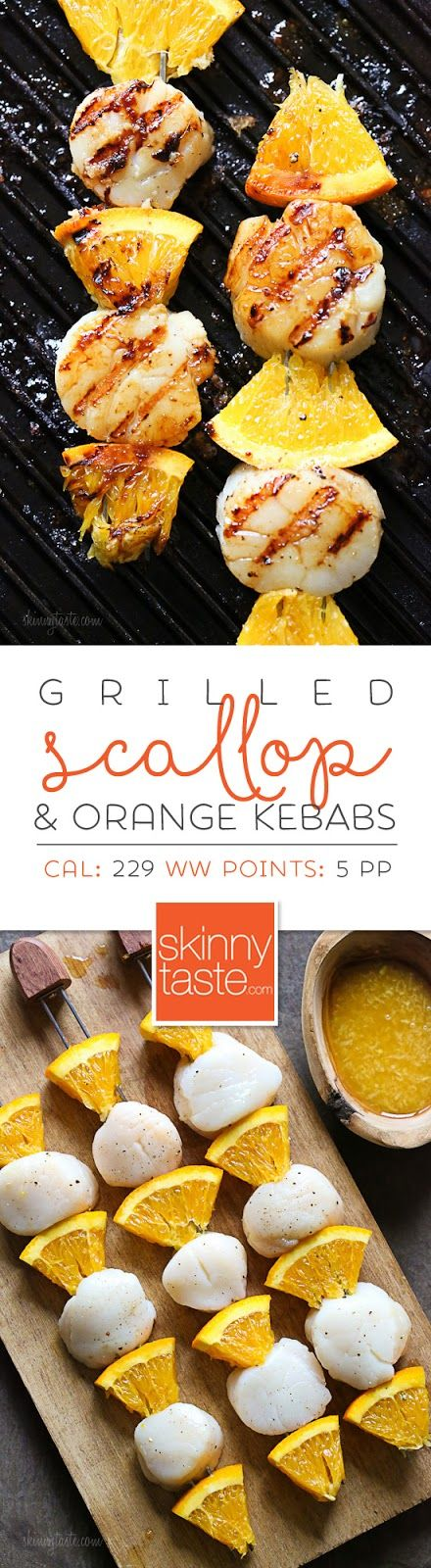 Grilled Scallop Orange Kebabs