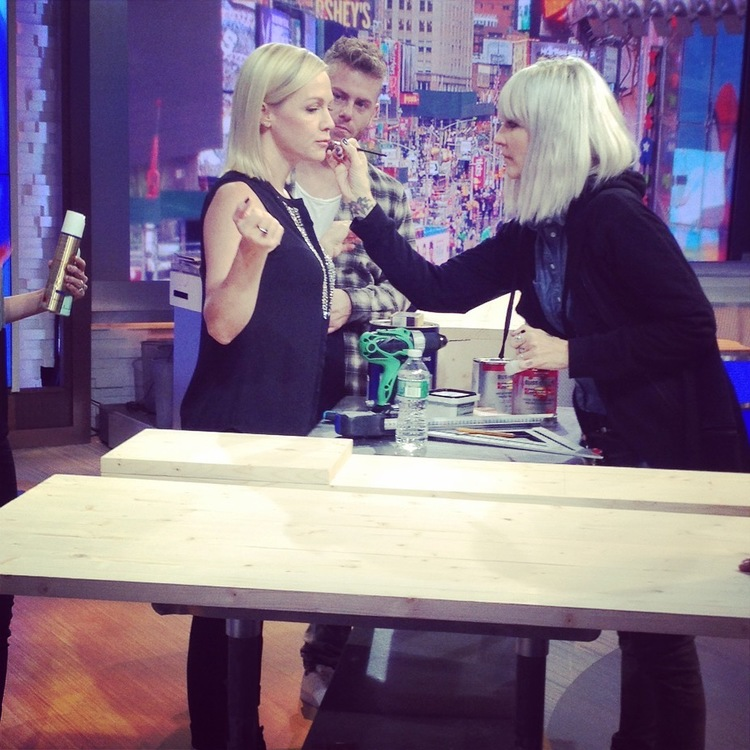 Theo working on Jennie Garth - Good Morning America