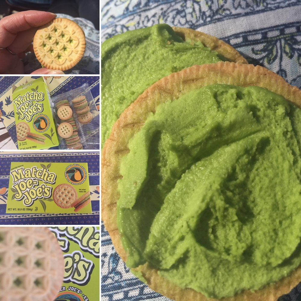 Matcha filled cookies from Trader Joe's.