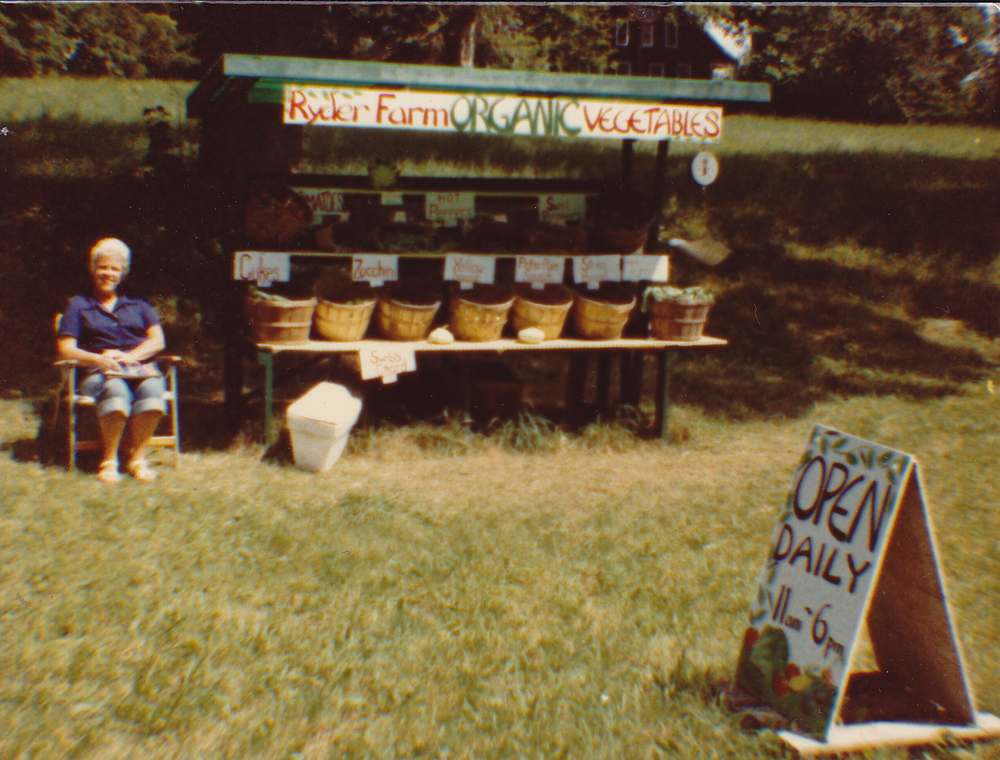 Jean Ryder tending the roadside farm stand, 1991