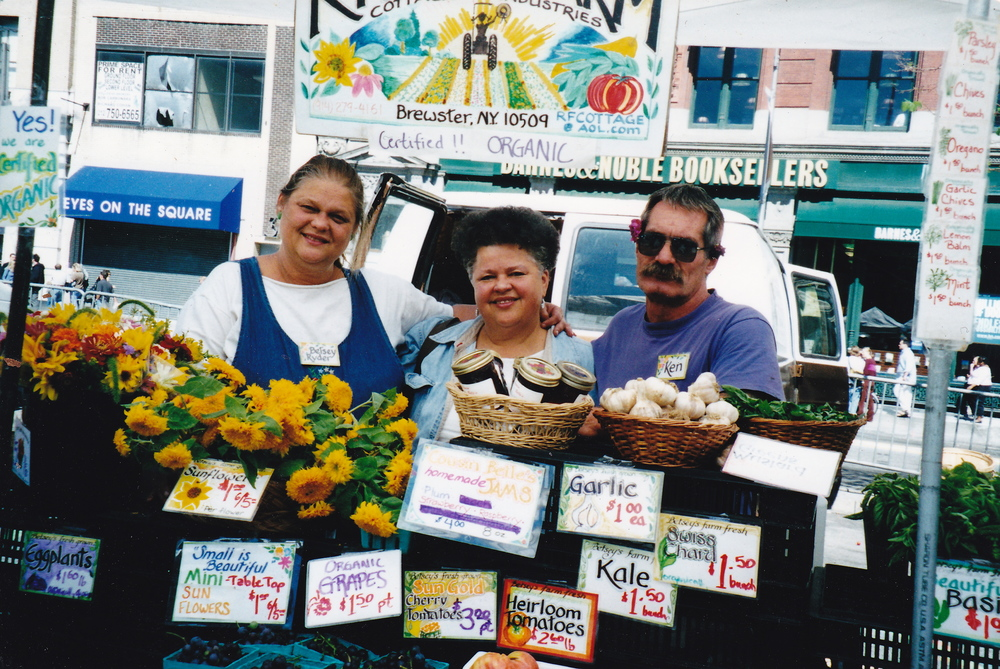 Betsey Ryder, Suzie Sanders and Ken Morrow at the Union Square Greenmarket, 2005